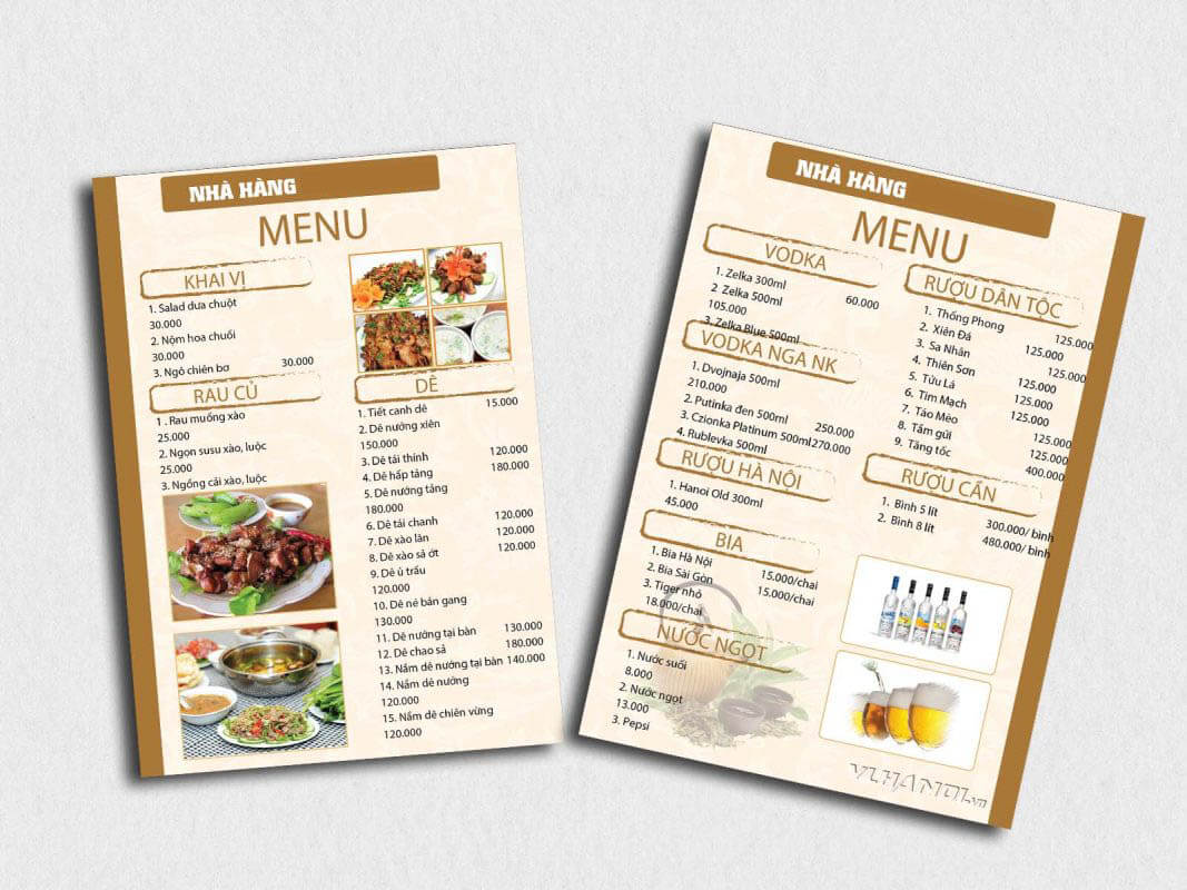 Theo dõi menu nhà hàng thường xuyên để cập nhật