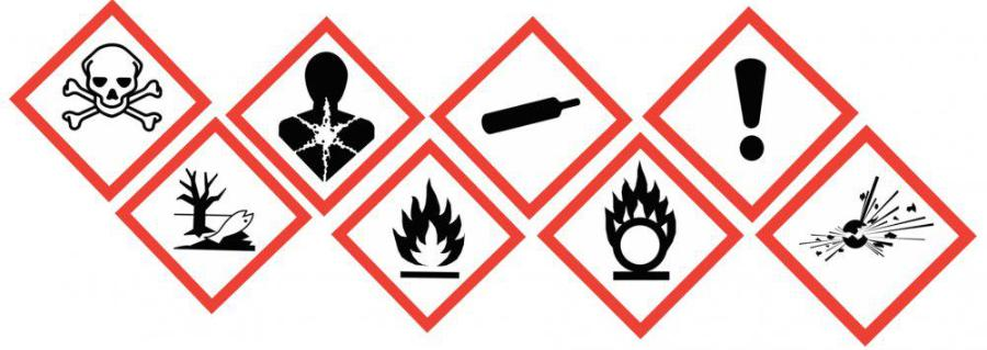 biểu tượng cảnh báo nguy hiểm hóa chất độc hại trong ngành cơ khí