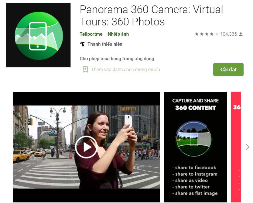 Ứng dụng chụp ảnh 360 độ Panorama 360 Camera